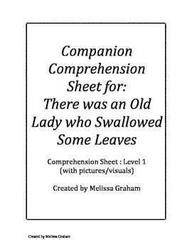 Comprehension Sheet (visuals): There was An Old Lady Who S