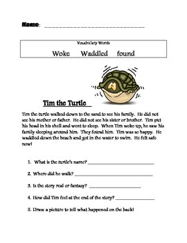 Comprehension Sheets with Decodable Words