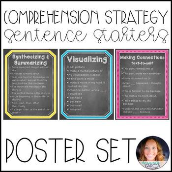 Comprehension Strategies Sentence Starters {Poster Set}: C