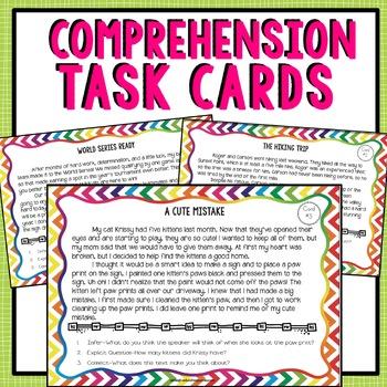 Comprehension Strategies Task Cards - Fiction