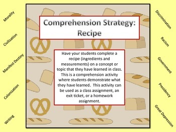 Comprehension Strategy: Recipe -a great formative assessment
