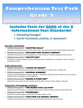 Comprehension Test Pack: ALL 2nd Grade Informational Text