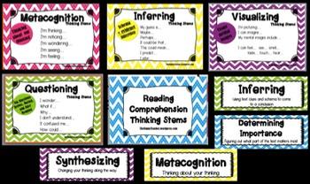 Comprehension Thinking Stems Posters- Chevron Theme