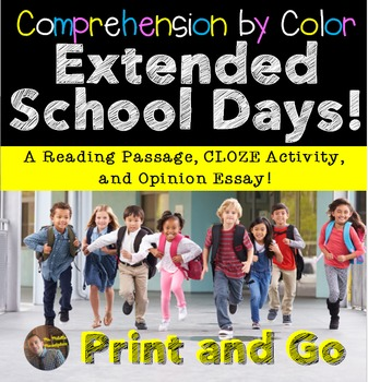 """Comprehension by Color- """"Extended School Day"""" Article and"""