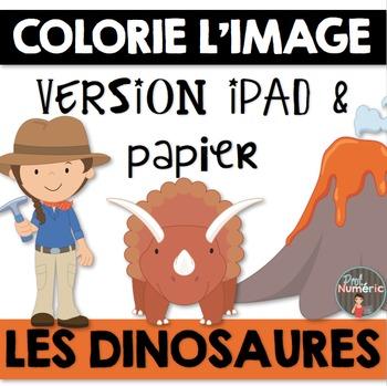 Compréhension de lecture et Colorie l'image - LES DINOSAURES