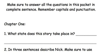 Comprehension packet to Frindle by Andrew Clements