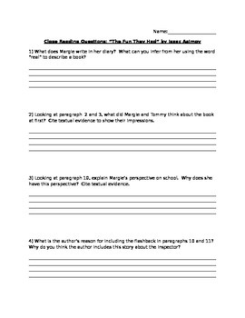 Comprehension questions and writing prompt: The Fun They Had