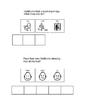 Comprehension questions with visuals for Goldilocks -- grid