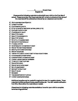 Comprehensive Elementary School Supply List