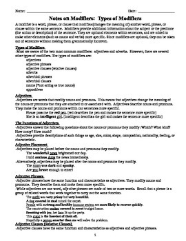 Comprehensive Grammar Notes on Adjectives and Adverbs - MS