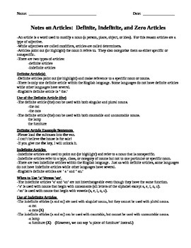 Comprehensive Grammar Notes on Articles for Middle and Hig