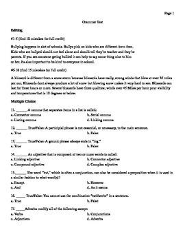 Comprehensive Grammar Test