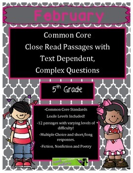 February 5th Gr - Close Read Comprehension Passages & Comp