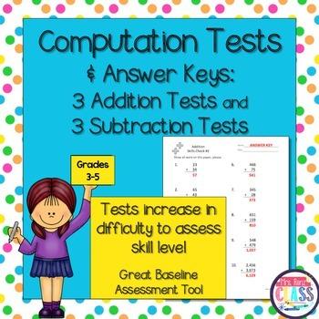 Math Computation Tests for Baseline Skills Assessment (Gra