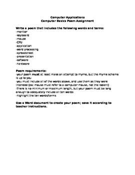 Computer Applications Vocabulary Poem Assignment - Sub Folder
