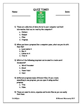 Computer Files and Folders (Quiz for Lower Elementary)