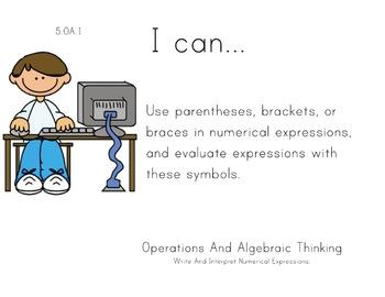 Computer Kids Theme 5th grade math Common Core Posters Fif