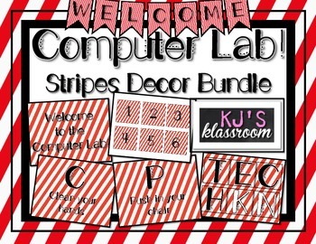 Computer Lab Decor Bundle - Stripes