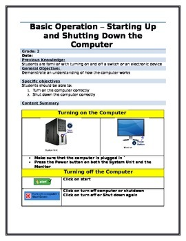 Computer Lesson Plan - Turning on and off the computer