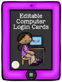 Computer Login Cards Editable