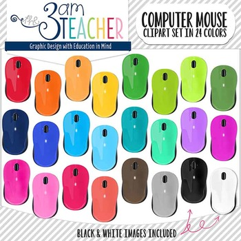 Computer Mouse Clipart Set in 24 Bright Colors!