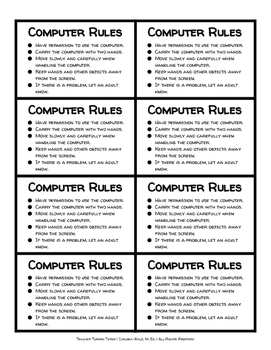 Computer, iPad, and Tablet Rules