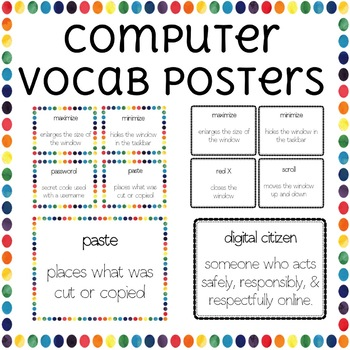 Computer Vocabulary Word Wall Posters