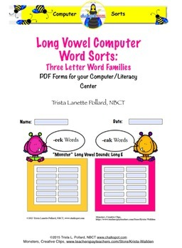 Word Sorts: Long Vowel Three Letter Word Families (Compute