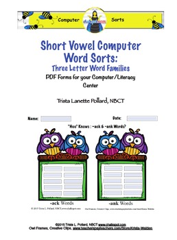Word Sorts: Short Vowel Three Letter Word Families (Comput