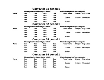 Computer check out sheet requiring students to account for