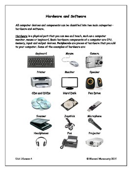 Computers Introduction - Hardware and Software (upper elementary)