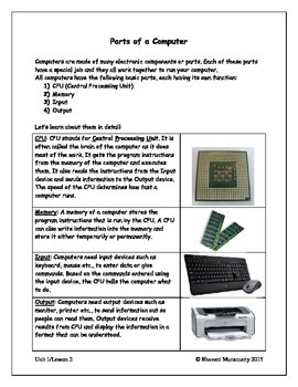 Computers Introduction - Parts of a Computer (upper elementary)