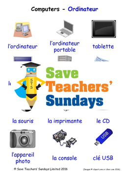Computers in French Worksheets, Games, Activities and Flash Cards