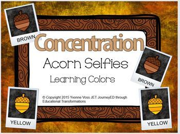 Concentration Acorn Selfies Learning Colors
