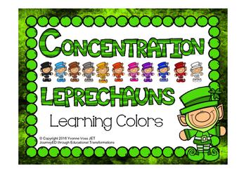 Concentration Leprechauns Learning Colors