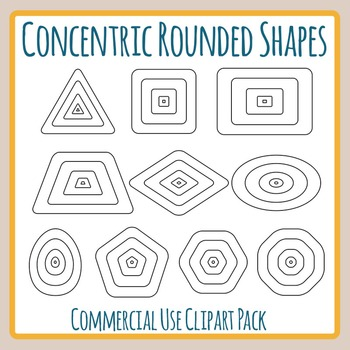 Concentric Rounded Shapes for Level Diagrams Clip Art for