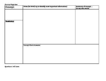 Textbook Concepts: Notes Organizer and Exemplar