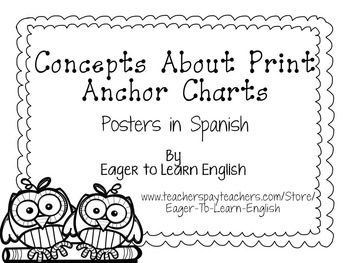 Concepts About Print Anchor Charts-in Spanish (B&W Color M