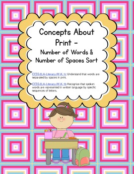 Concepts about Print - Word & Space Word Work Sort(Common