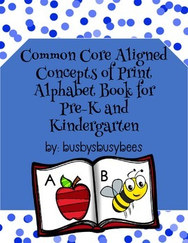 Concepts of Print- Alphabet Book, **Common Core Aligned**
