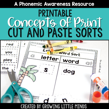 Concepts of Print and Print Awareness Printable Sorting Ac