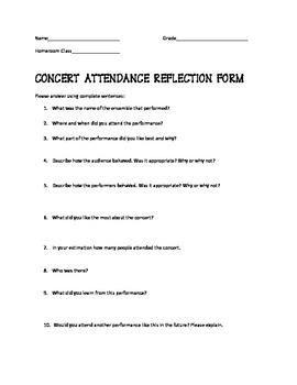 Concert Attendance Reflection Form