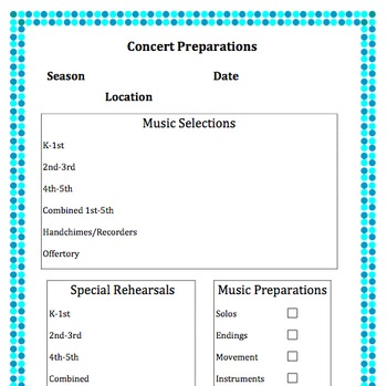 Concert Checklist Customizable