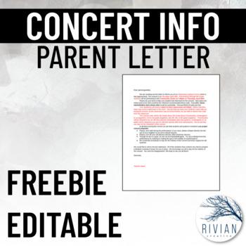 Concert Information Letter for Parents (Editable)