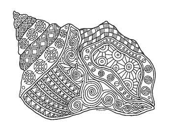 Conch Shell Zentangle Coloring Page