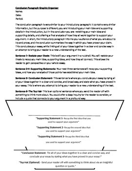 Conclusion Paragraph Explanation and Graphic Organizer