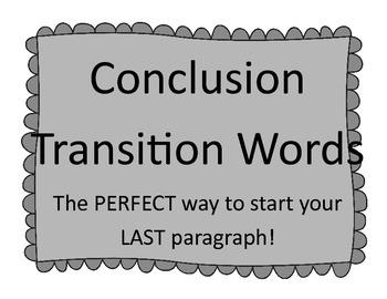 Conclusion Transition Words Posters