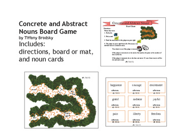Concrete and Abstract Nouns Game Board, Great for Literacy