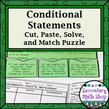 Conditional Statements (All Four Types) Cut, Paste, Solve,