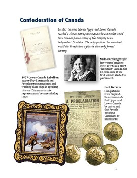 Confederation of Canada Workbook and Activities